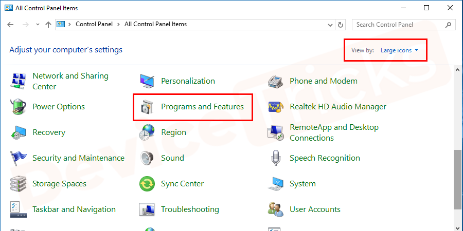 Soon, you will find the list of applications in the Control Panel, click on 'Programs and Features'.