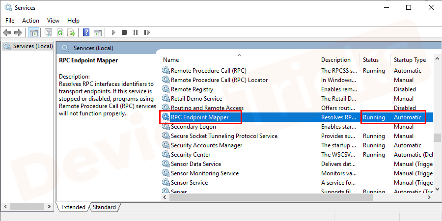 Now select RPC Endpoint Mapper and check the same.