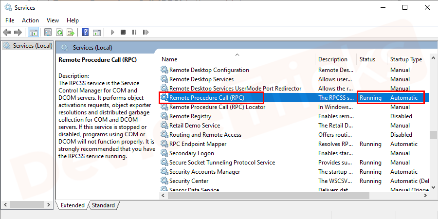 Select Remote Procedure Call (RPC) in the next tab and check the same.
