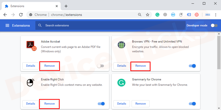 Check all the extensions you have, if you find any suspicious extension. Click on the remove button present inside the window of particular extension to remove it.