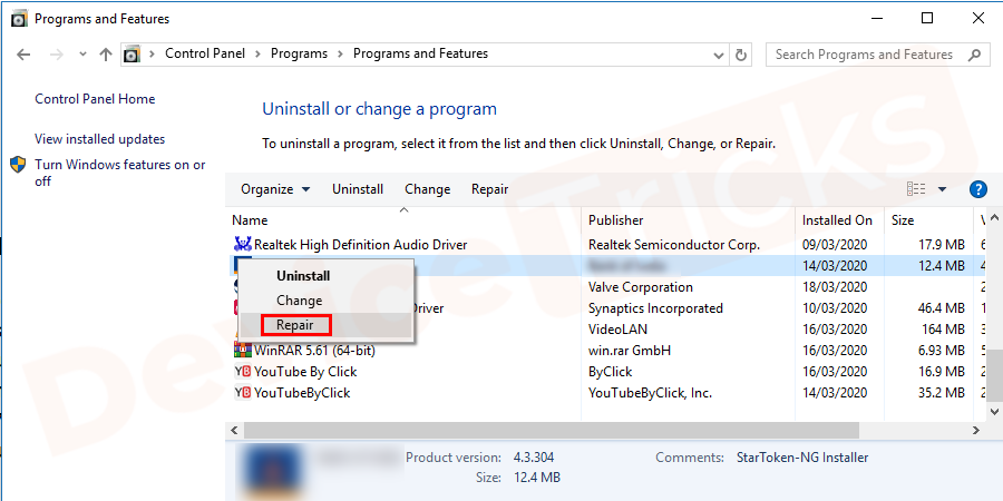 In the list of programs, you need to find iTunes and then right-click on it and select 'Repair'.