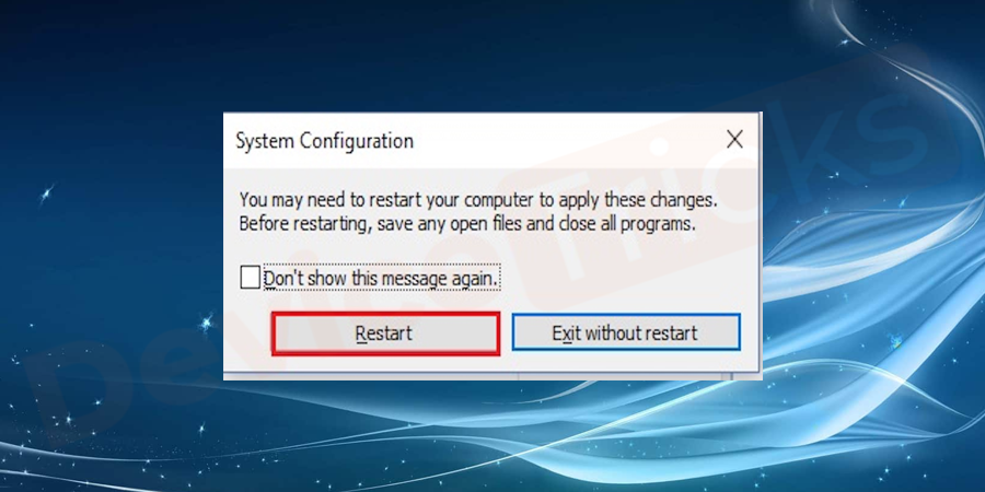 Once you press the apply button the system will ask you to restart the system press the restart button to proceed the process.