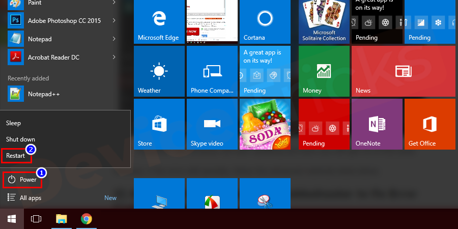 Right-click on the Windows Start menu button and then hold the shift key and click on Power, then restart.