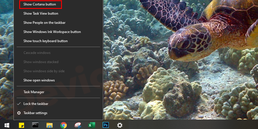 Click on the 'Windows' icon and from the list of 'Apps' select 'Cortana'. Another option is, just right-click on the taskbar and tick to Show Cortana button.