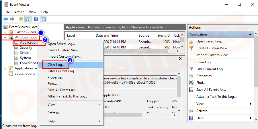 right-click on the Application folder and click on clear log option