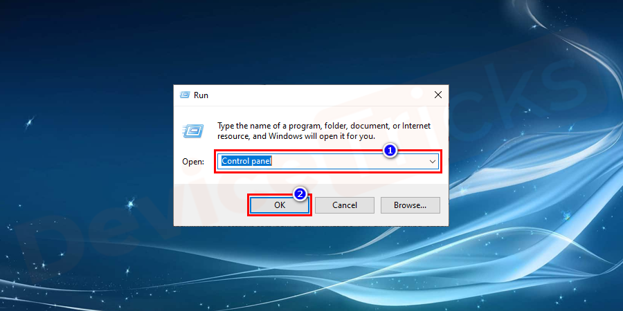 Press Windows+R key altogether to open the Run program and type Control panel. To open the program hit Enter.