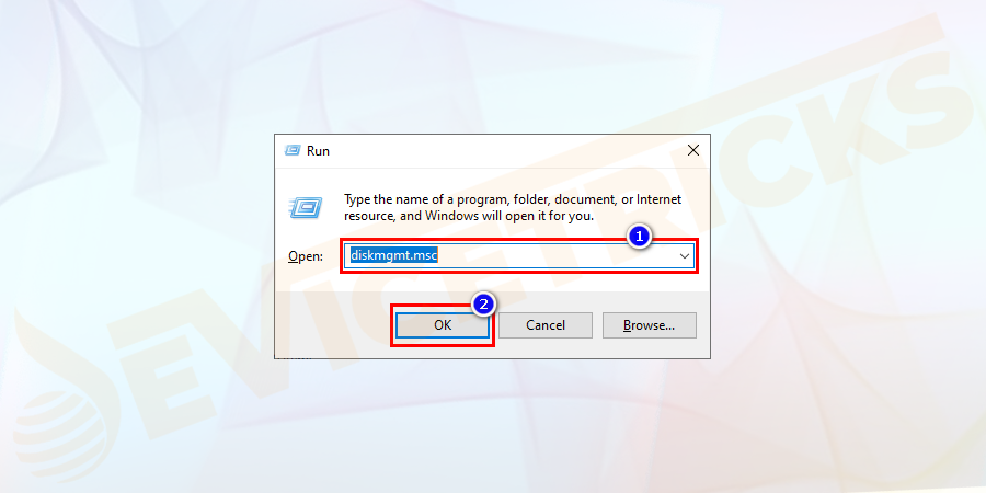 Open the 'Run' box by pressing the 'Windows' key and 'R' keys together and type 'diskmgmt.msc' in the space provided by the dialog box and then click on the 'OK' button.