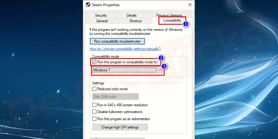Head to the Compatibility tab and check the option for Run this program in compatibility mode.
