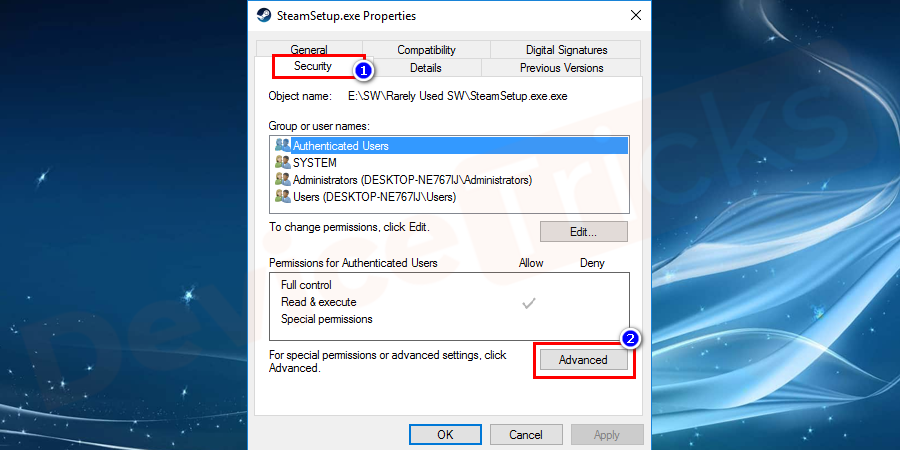 Now select the security tab to access the NTFS permissions and click on the Advanced Button.