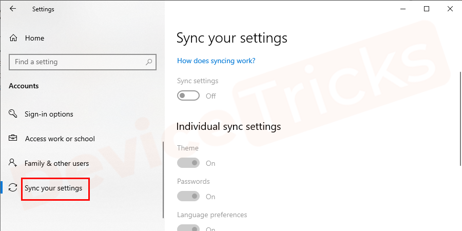 Select Sync your settings.