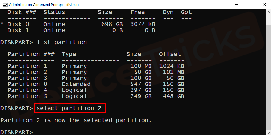 Now, type 'select partition 2' in the box and then hit on 'Enter' key. Here, 1 denotes the primary partition.