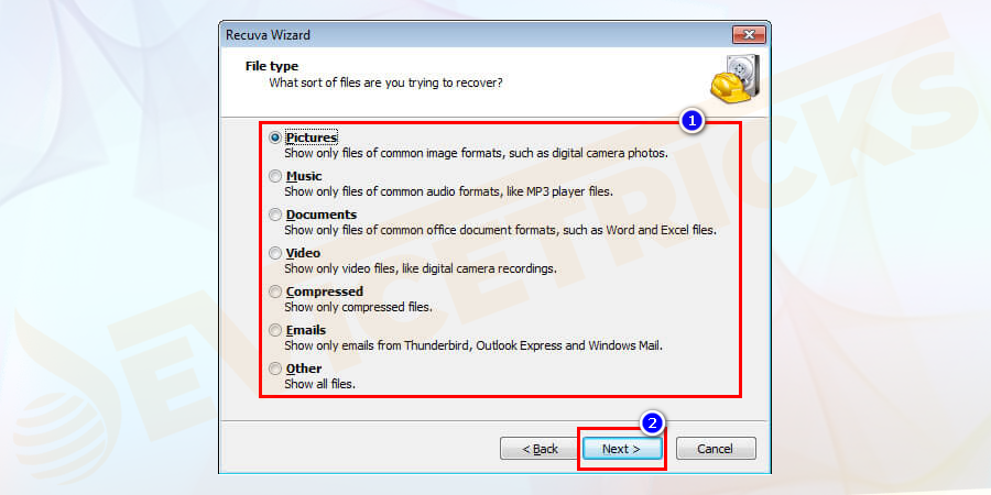 Recuva free software is started. You have to select the file type you want to recover and click next.