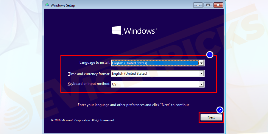 Select the language and keyboard layout as per your preference and click on Next.