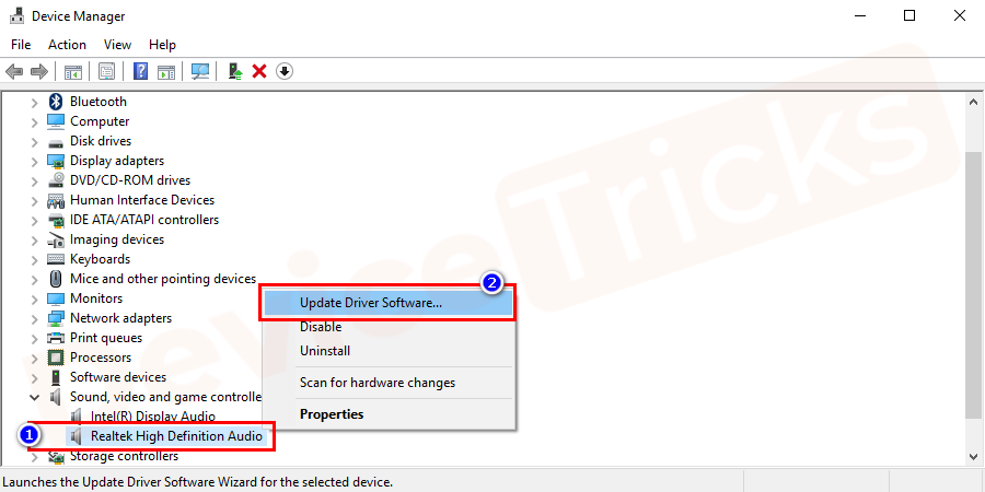 locate to the Realtek Audio Driver, right-click on it and select Update Driver to update the Realtek Audio driver