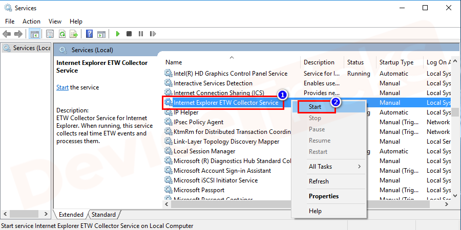 In the list shown search for Internet Explorer ETW Collector Service, right-click on it and select for Start option.
