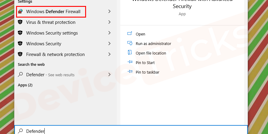 """Initially click on the start menu (or on the start screen in Windows 8) and type Defender on the search bar. Shortcut for opening the search bar is by simultaneously pressing the Windows button on the keyboard and letter """"Q"""". When you type """"Defender"""" then you can see the """"Windows Defender"""" option on the top of the list, click on that."""