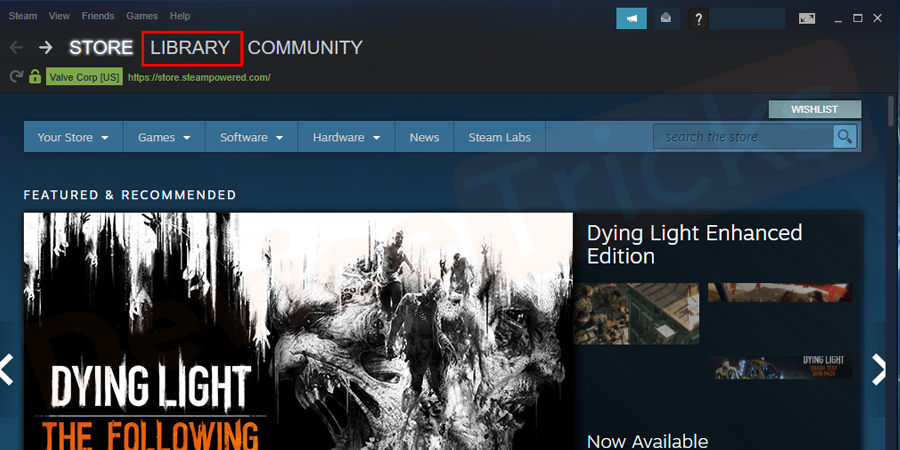 Go to steam and next select the library from the menu bar.
