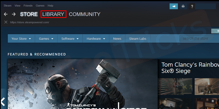 Open Steam and click on the Library button.