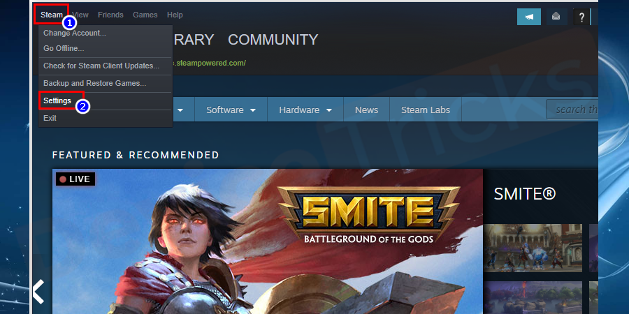 Click on the Steam and select settings.