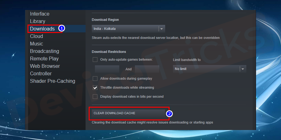 clear download cache to fix steam not working error