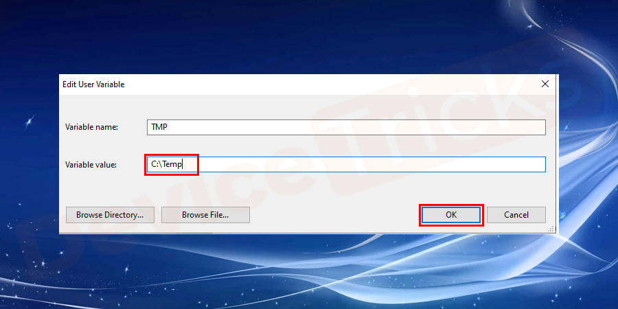 Now change the value %USERPROFILE%\ AppData\ Local\ Temp to C:\Temp and click on ok button.
