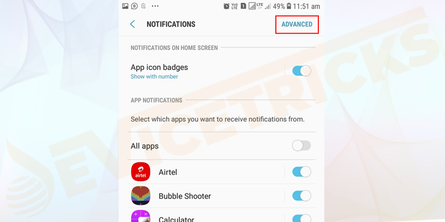 Tap Permissions or go inside Advanced option and disable any permissions (This will stop the app running in the background and if you want to enable it later, you can do).