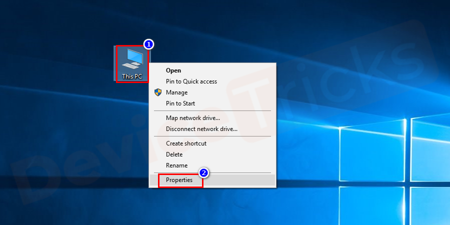 Right-click on This PC, select Properties from the menu.