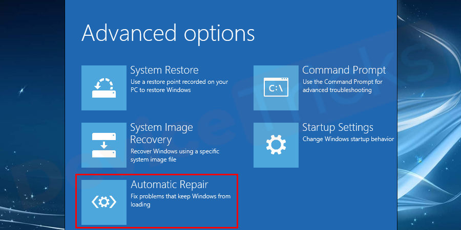 Click on the Automatic repair option to get into the Automatic repair menu.