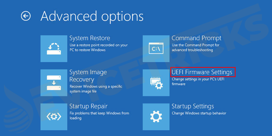 Select the UEFI Firmware settings and then click on Restart.