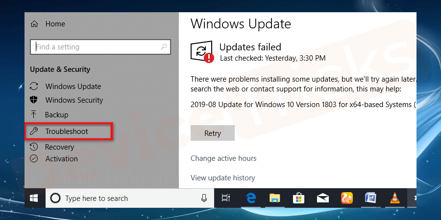 Here on the update & security window, select the Troubleshoot option.