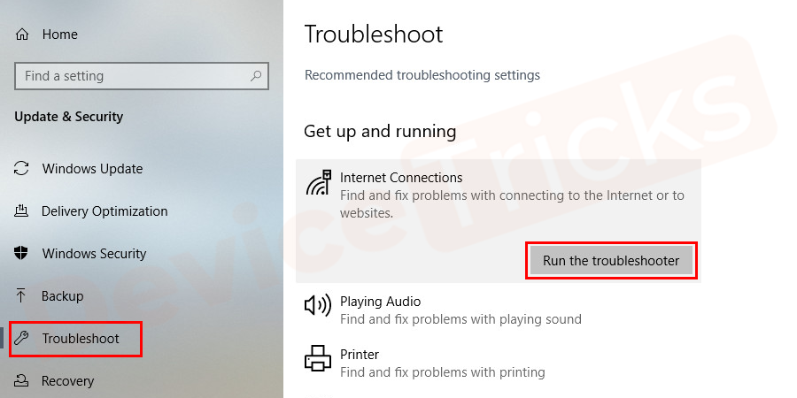 On the next screen, select run the troubleshooter option.