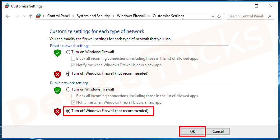 Also, click on turn off Windows firewall (not recommended) option under public network settings.