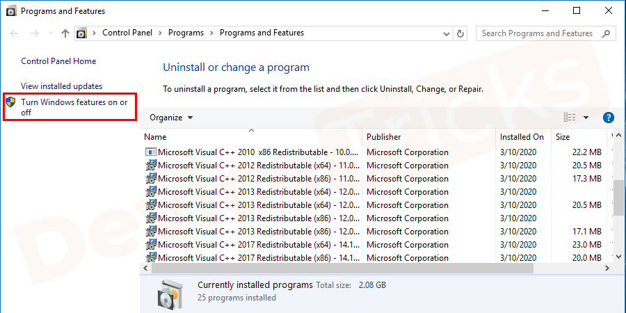 In the Program and Features section, you will get 'Turn Windows Features On or off', click on it.