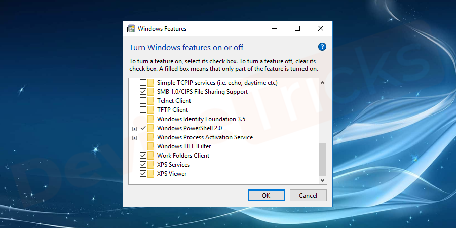 Now, again launch the Control Panel and move to the 'Programs and Features' section. And again select 'Turn Windows features on or off' and then select the game that you have unchecked earlier. This time, make sure the box is check marked.
