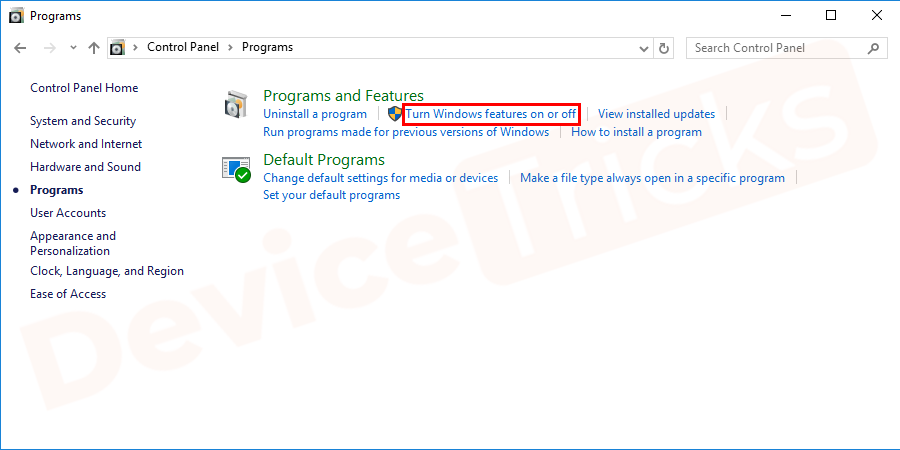 """Once the window opens, click on """"Turn Windows feature on or off"""" feature in the left pane."""