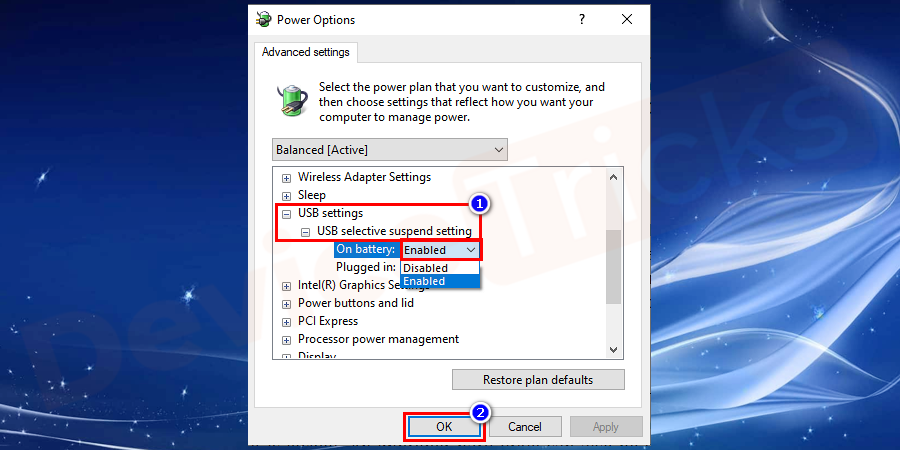 Navigate to USB Settings > USB selective suspend setting, and switch the settings to disabled.