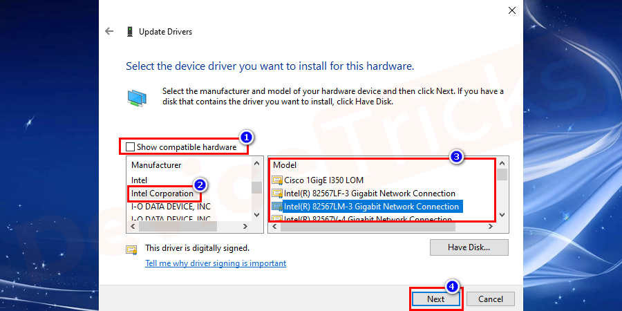 Uncheck Show compatible hardware, scroll down and select Intel Corporation. Click a network adapter driver different from what you have now.