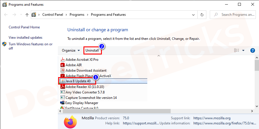 You can searchfor Java from the list or can search from the search box on the window.After finding the java file click on it and select the uninstall button to remove it.