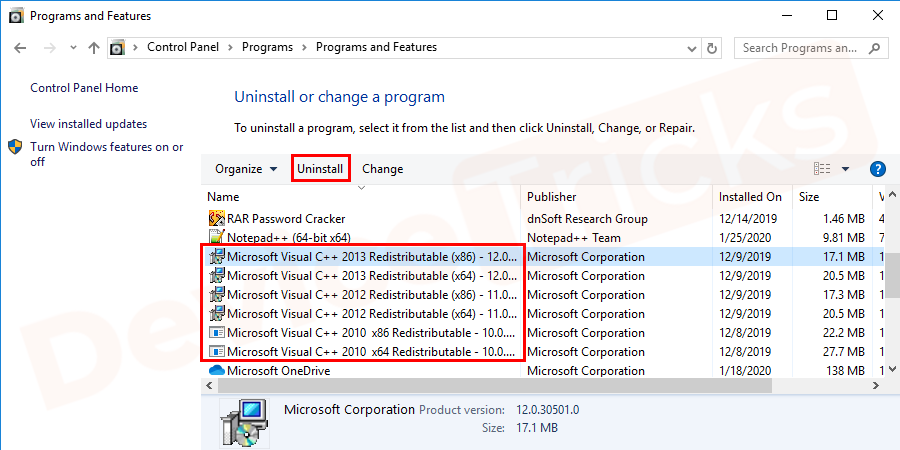 "Uninstall/Remove all ""Microsoft Visual C++ Redistributable"" items."