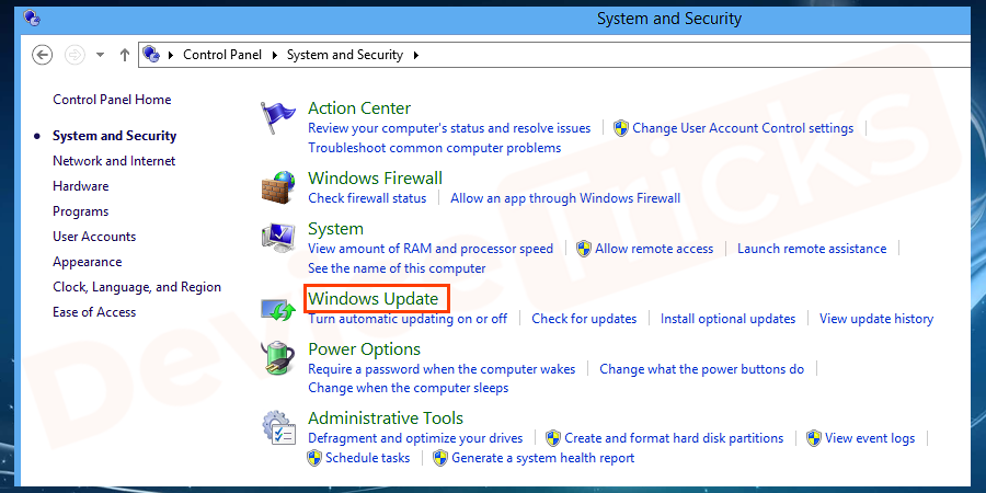 Thereafter, you will find the option to Windows Update, click on it.