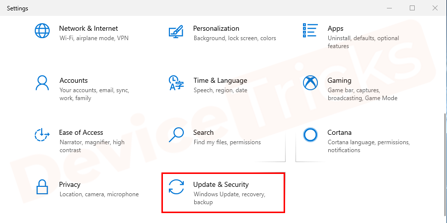 To update Windows go to the Windows Settings page and select the Update and Security option.