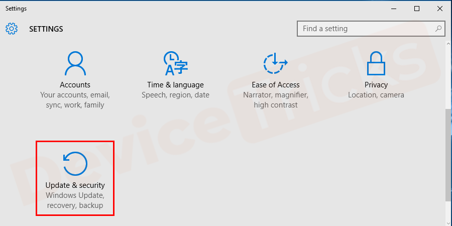 Thereafter, the Settings page will appear with a lot of features, move to the section 'Updates & Security' and this will show the 'Windows Update'.