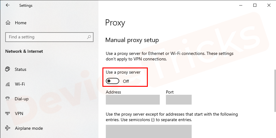 Scroll down and check the box or turn on the radio button for Use a proxy server for your LAN option and press OK.