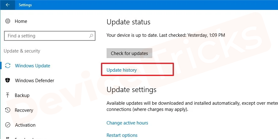 Once you reached on the Update & Security window now select view update history.