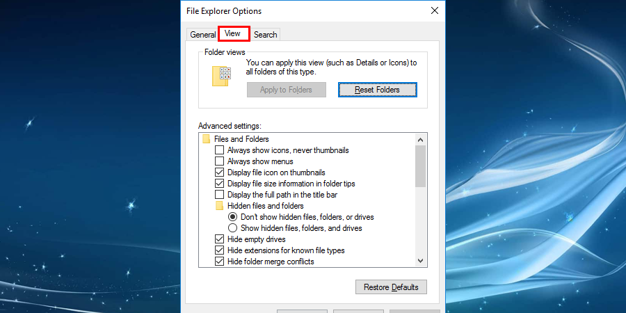 Navigate to View tab in the index to change the settings to fix Windows File Explorer keeps crashing
