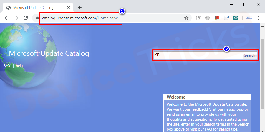 Copy the codes starting with 'KB' for these updates.Visit the Microsoft Update Catalog and search for these codes.
