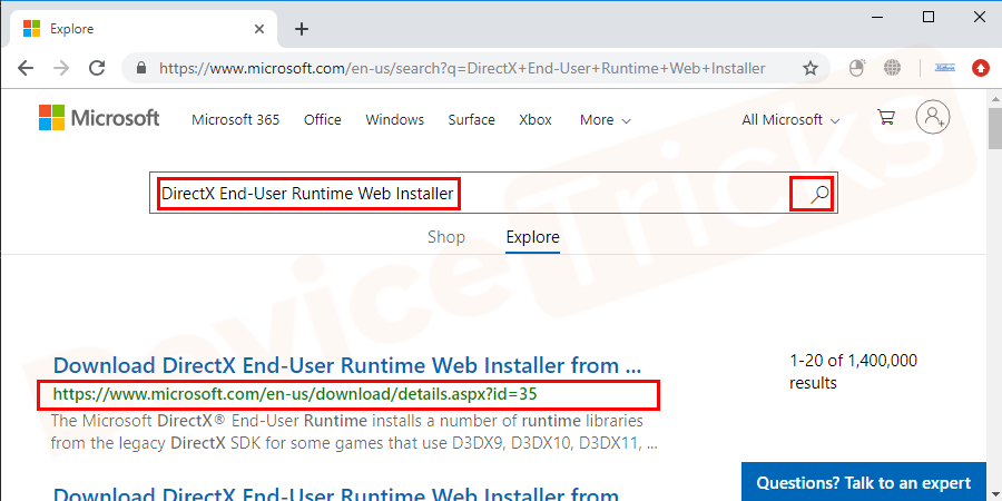 Visit to the official Microsoft website and type DirectX End-User Runtime Web Installer in the search box and press Enter.and then click on the DirectX End-User Runtime Web Installer from the search results.