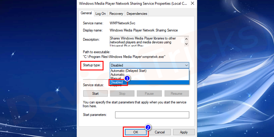 In Properties of Windows Media Player Network Sharing Service, it will take you to General pane under which you have to set the Startup type to be Disabled and then click OK.