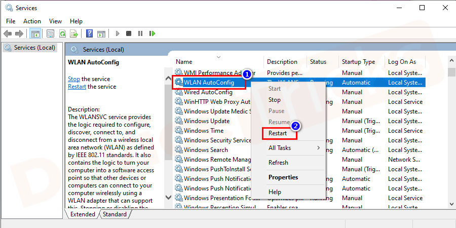 Now, navigate for 'WLAN AutoConfig'. Right-click on it and then select the 'Restart' option from the drop-down menu.