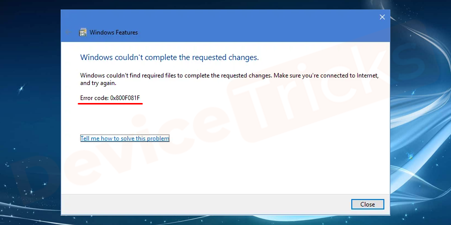 Why the .NET Framework 3.5 Installation Error Code 0x800F081F occurs?